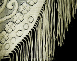 70s Antique Style Fringed Shawl - Ivory Chenille & Mesh Net - 1970s Victorian Look Roses and Flourishes with Fringe - Bohemian Beautiful