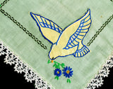 1940s Bluebirds Tablecloth - 40s 50s Blue Swallows & Daisy Embroidery - Mint Green Cotton Bridge Table Cloth - Birds are Usable Pockets