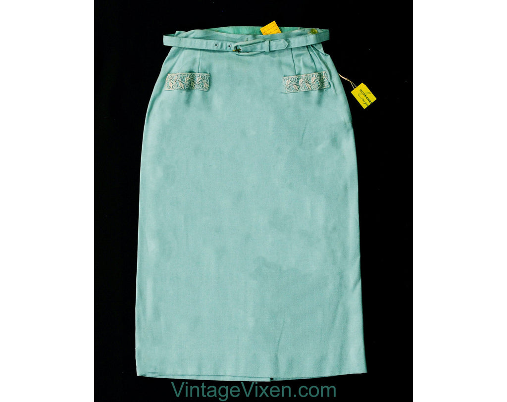 Size 000 Robin's Egg Blue Pencil Skirt - 1960s Rayon Blend Office Chic - XXXS Sexy Secretary Tailored 50s Skirt - Waist 21.5 - NOS Deadstock