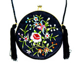 Asian Bird Evening Purse - 60s 70s Formal Handbag - Beautiful Embroidery - Fine Black Satin Bag with Shoulder Strap - Turquoise Pink Orange