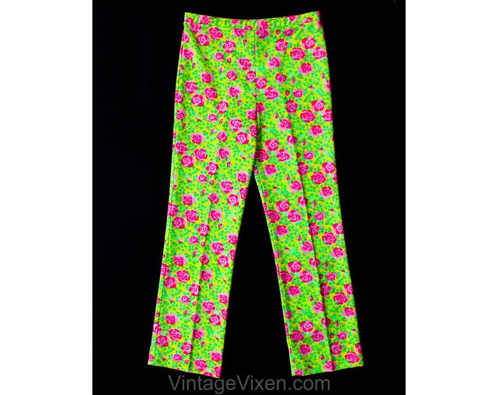 Lilly Pulitzer Pants - Size 10 Pink Roses Print - Green & Yellow Polyester Knit Preppie 70s Pant - 1970s Spring Novelty Print - Waist to 32