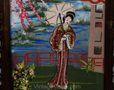 Pair Large Framed Pictures - 1940s Japanese Kimono Ladies - Hand Painted Eastern Garden Scenes - Pink Green Silver 40s WWII Era Boudoir Art