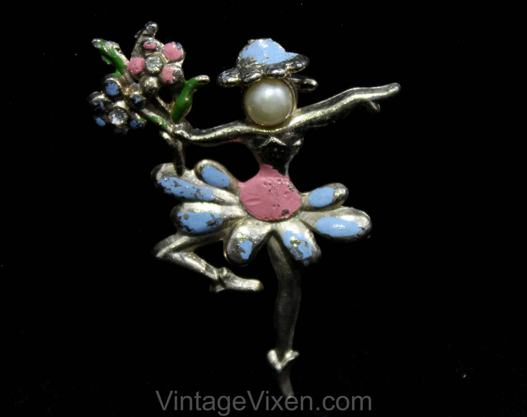 Fairy Ballerina Fantasy Brooch - 1950s Mythological Pin - Woodland Faerie - Painted Pink Blue Daisy Flowers - 50s Novelty Jewelry - 50563
