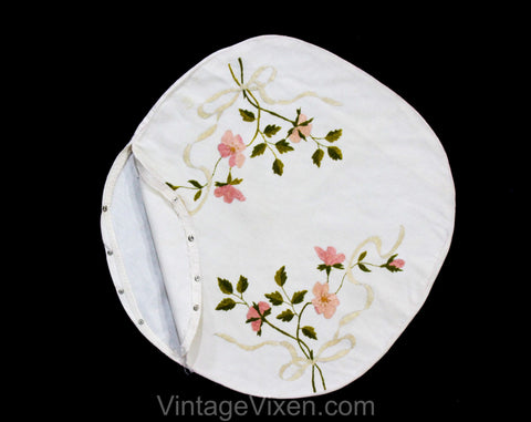 Wild Roses Antique Pillowcase - Pink & Green Society Silk Embroidery Victorian Linen - Round Circle Flowers Pillow Cover - Art Nouveau 1900s