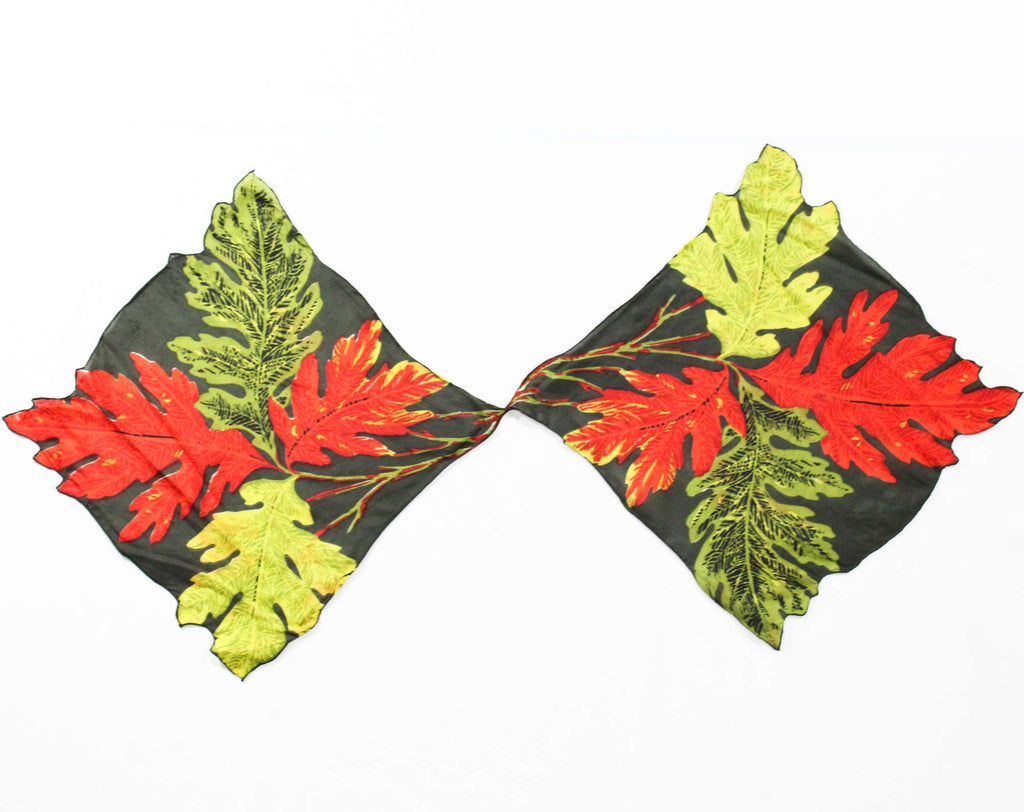 Autumn Leaves Silk Scarf - Fall Novelty Print Leaf Squares - Red Olive Spinach Chartreuse Green - 1950s Ladies Ascot with Hand Rolled Hems