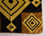 60s Geometric Silk Scarf by Vera Neumann - Brown Tan Black Diamonds - 1960s Mod Color Block Square Scarf - 22 Inches - Hand Rolled Hem