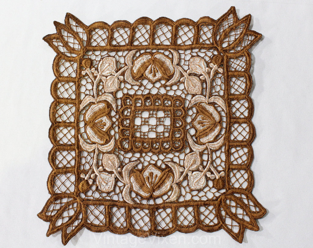 Brown Embroidered Dresser Textile - Table Runner Style Cutwork Embroidery Square - Floral Antique Inspired Doily - Cocoa and Ivory Lattice