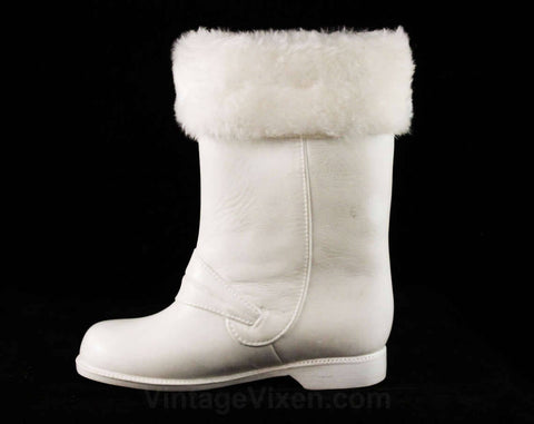 Toddler Size 7 White Galoshes - Authentic 1950s Baby's Rain Boots - Waterproof Rubber Shoes with Faux Fur Cuff - 50s 60s Deadstock - 48058