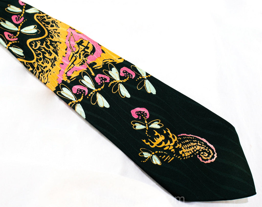 1940s Novelty Print Tie - Violin Music Theme Forest Green Pink & Orange Satin Mens Tie - Wide Swing Era Necktie - Dragonflies Insects