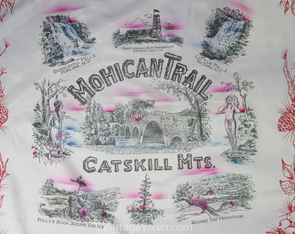 1940s Catskill Mountains Souvenir Scarf - Mohican Trail 40s Novelty Print Tourist Scenes - Native Americans - New York State Nature Scenes