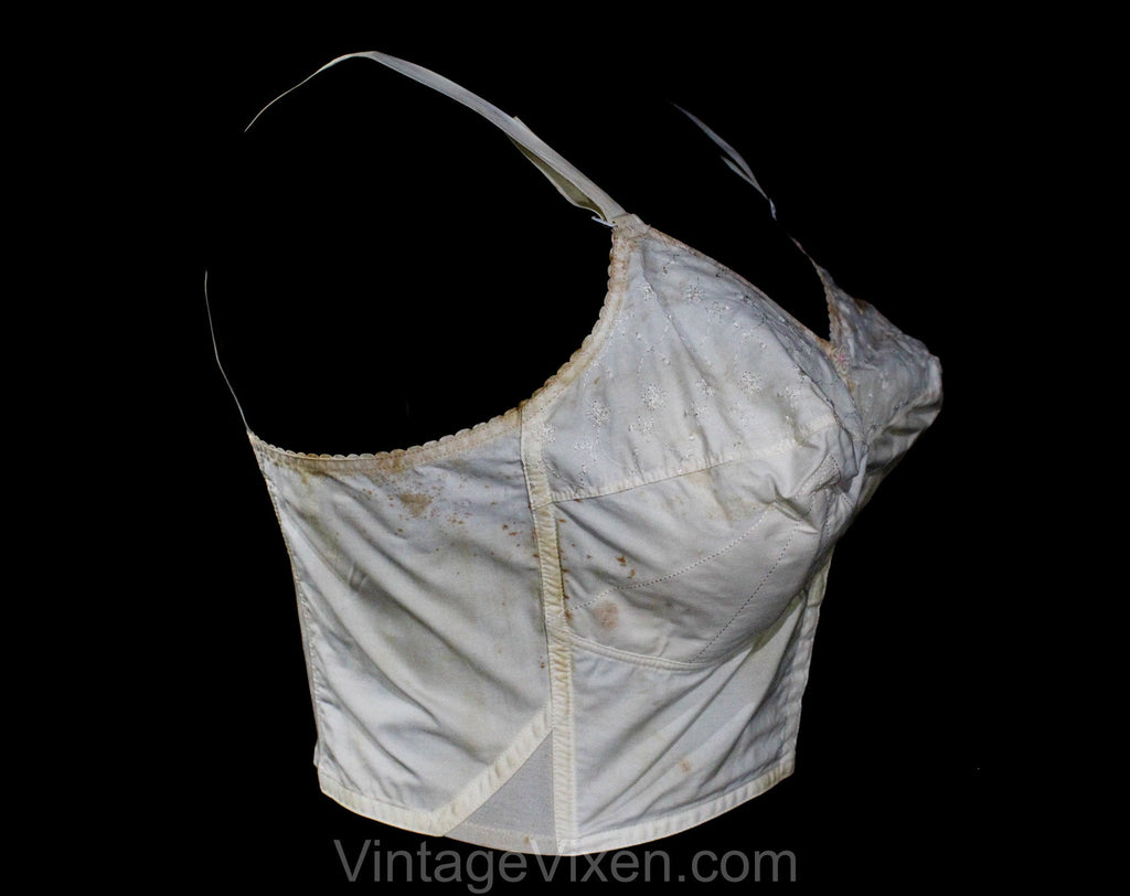 42D 1950s White Long-Line Bra - As Is Large Bombshell Bustier - 50s Merry Widow with Radiant Stitching - Exquisite Form Carnival NIB - 42 D