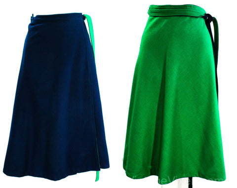 Size Large Wrap Skirt - Reversible Kelly Green & Navy Blue Wool 70s Classic Preppy Style - Flared Full A-Line - Winter Spring - Waist 32 34