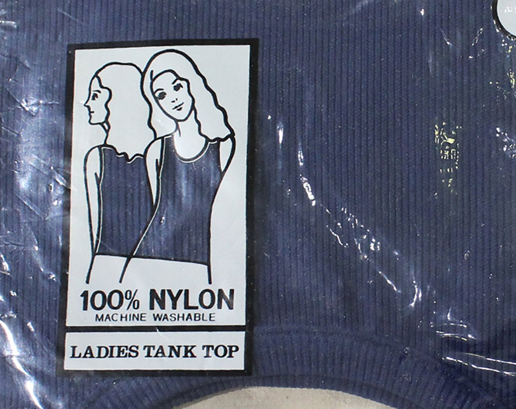 Large 1970s Navy Tank Top - Dark Blue Sleeveless Shell - 70s Summer Shirt in Original Plastic Package - Scoop Neckline - Ribbed Nylon Knit