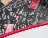 Christian Dior Scarf - Terrific Sketchy Abstract Print with Trompe L'Oeil Scratches - Pink Gray Red Silk Chiffon Long Rectangle - Designer