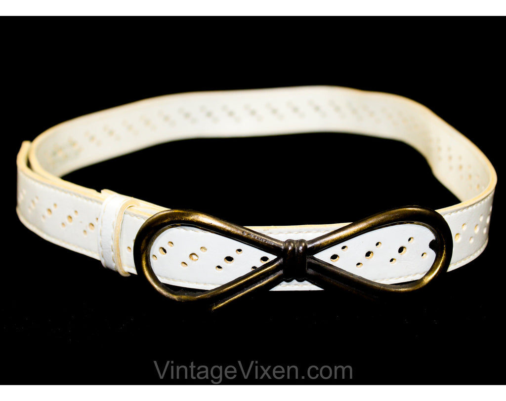 1960s White Vinyl Belt with Metal Bow Buckle - Medium Large Mod 60s Belt with Dot Perforations - Burnished Brassy Hardware - Waist 28 to 32