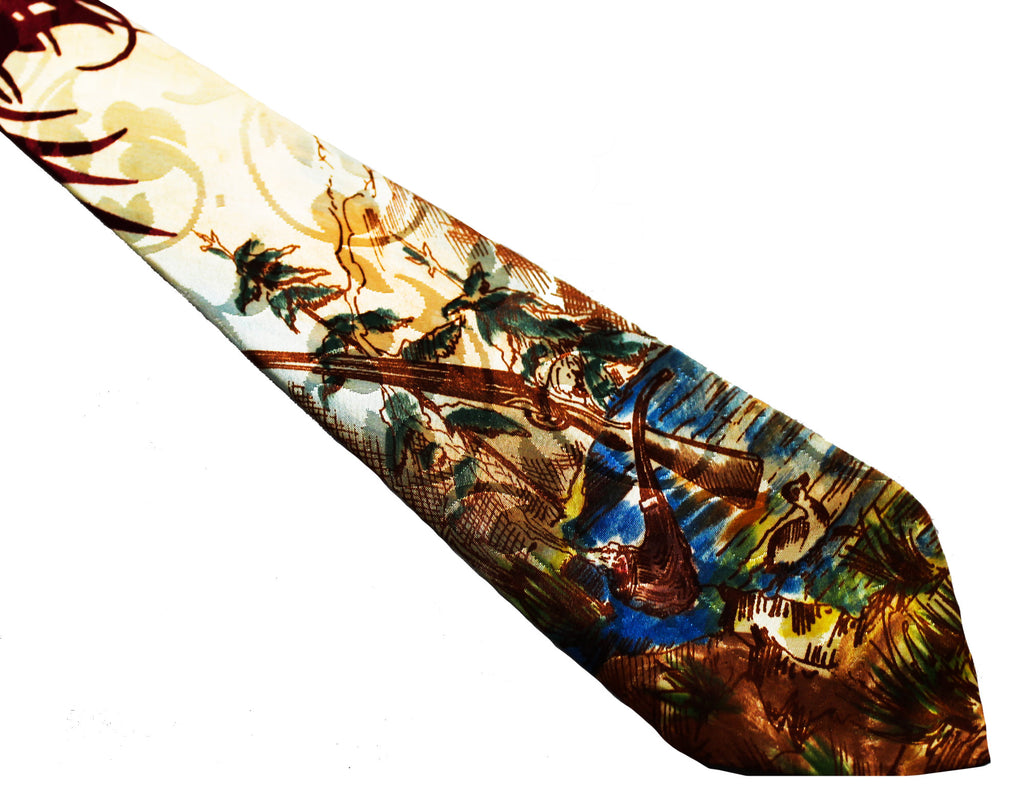 1940s Men's Hunting Theme Tie - 40s Rayon Novelty Print Necktie - Forest Scene Print Satin with Duck - Shotgun - Smoking Pipe - Woodland
