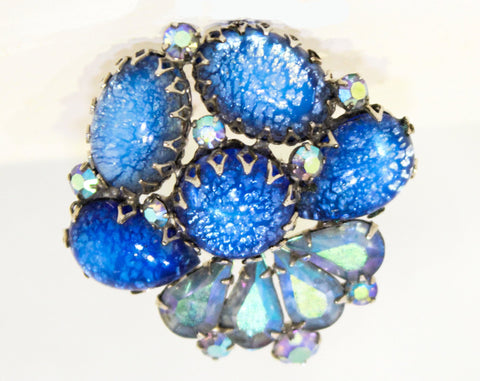 Stunning 1950s Juliana Brooch - Cinderella Blue Crackle Glass Easter Egg Cabochons & AB Rhinestones - 50s 60s Delizza and Elster Glamour Pin