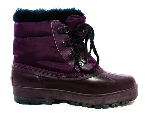 Size 7 Sorel Hiking Boots - 1990s Unworn Deadstock - Purple Canvas & Waterproof Rubber - Black Faux Fleece 90s Winter Wilderness Footwear