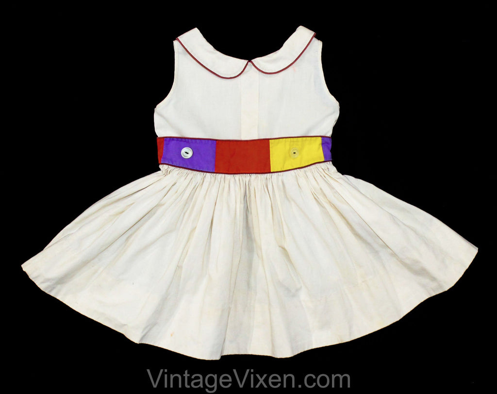 Girl's 2T 3T 1950s Dress - Modern Art Color Block Cotton - Toddler Childs Size 2 Sleeveless 50s Frock - Brown Blue Orange Yellow - Chest 23