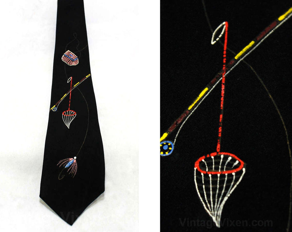 1940s Men's Tie - 40s Hand Painted Fly Fishing Novelty Theme - Lure Wicker Bag Rod & Reel Fish Net - Mens Necktie - 40's California - 45617