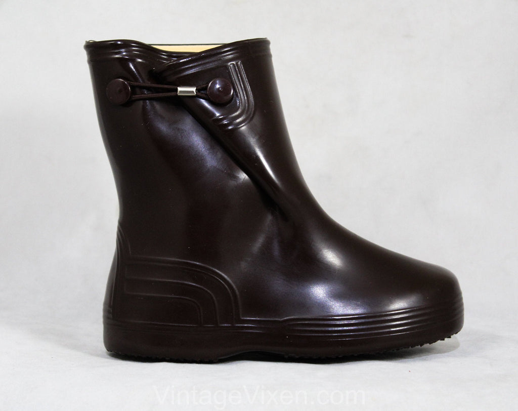 Child Size 8 Brown Galoshes - Authentic 1960s Child's Rain Boots - Waterproof Rubber Overshoe - 60s Mid Century Deadstock - Thermolites