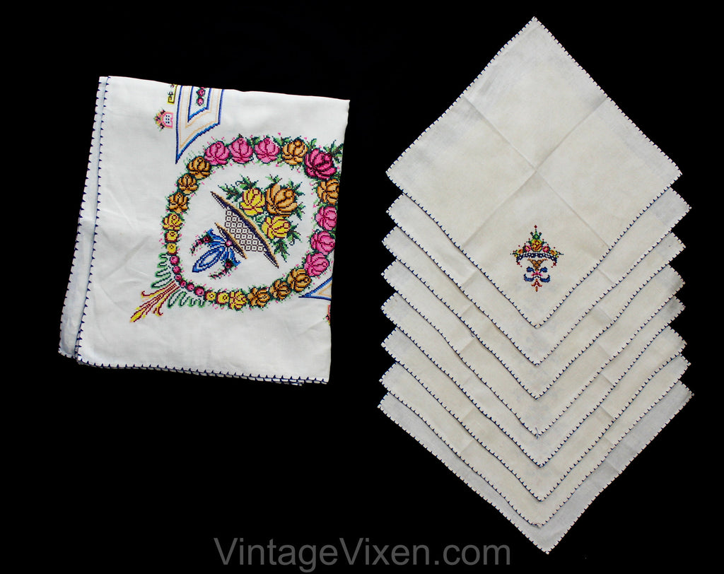 Magnificent Linen Tablecloth & Eight Matching Napkins - 1930s 40s Formal Dinner Embroidered Linens - Roses in Baskets Flourish Cross Stitch