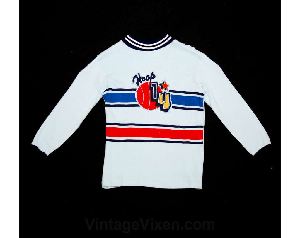 Boys Size 5 Shirt - Vintage 70s Basketball Long-Sleeved Boy's Casual Top - 1970s Deadstock - Sports - Athletic - Spring - 38647-1