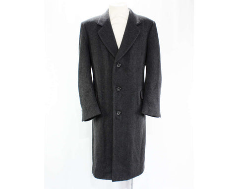 Men's Cashmere Overcoat - Nino Cerruti Coat - Large to XL - Handsome 1980s Mens Outerwear - Heavy Gray Cashmere & Wool Blend - Chest 48