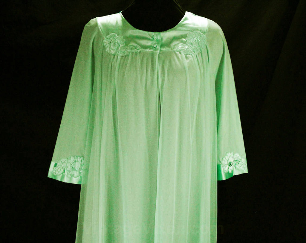 Seafoam Green 60s Robe - 1960s Summer Lounge Wear - Up To Size 14 - Gossard Artemis Double Layer Pastel Nylon Tricot - Satin Trim - Bust 40