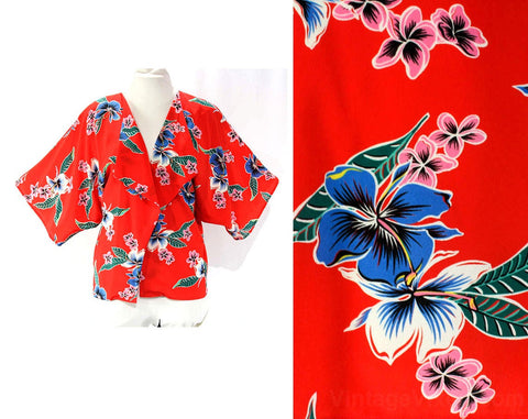 Size 10 Hawaiian Wrap Beach Jacket - 1980s Red Hibiscus Print - 80s Summer Tropical Open Front Cover Up - Made in Hawaii - Bust up to 50