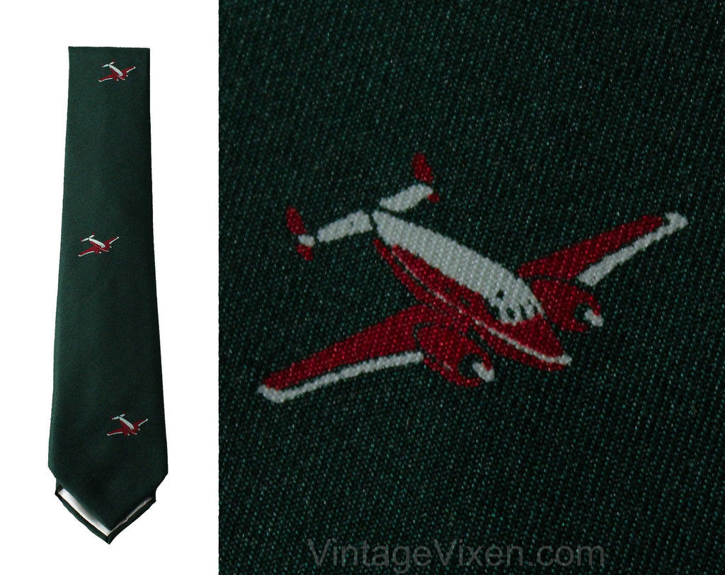 1950s Men's Airplane Tie - Forest Green & Crimson Red Silk Novelty Flight Pilot Theme - Mid Century Mens Accessory - Original 50s Gift Box