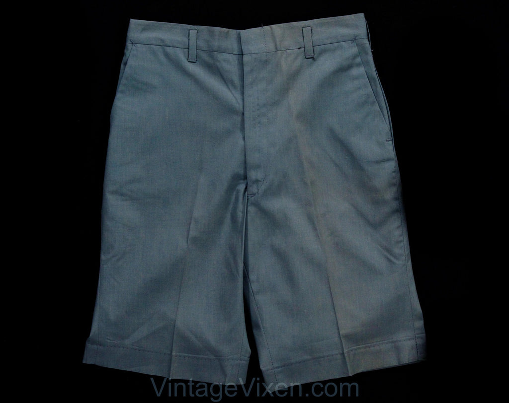 Boy's 1960s Shorts - Size 10 Slate Blue Cotton Tailored Shorts with Belt Loops - 60s Summer Preppy Classic Deadstock - NWT NOS - Waist 25