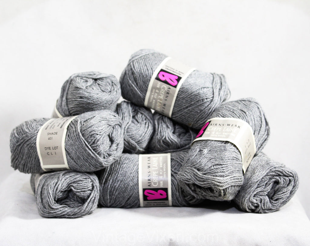 Quality Gray Wool Yarn - One Single Skein 1 Ounce - Slate Smoke Fog Gray Knitting Crochet Fiber Arts - Airns-Wear Crepe Laine From England
