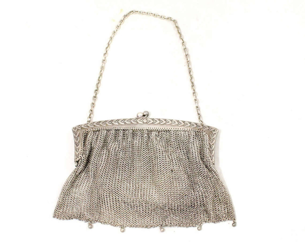 1910s Nickel Silver Purse - Authentic Antique Edwardian Metal Mesh Bag - Olive Leaf Laurel Leaves Design - Classical Beauty - Chain Strap