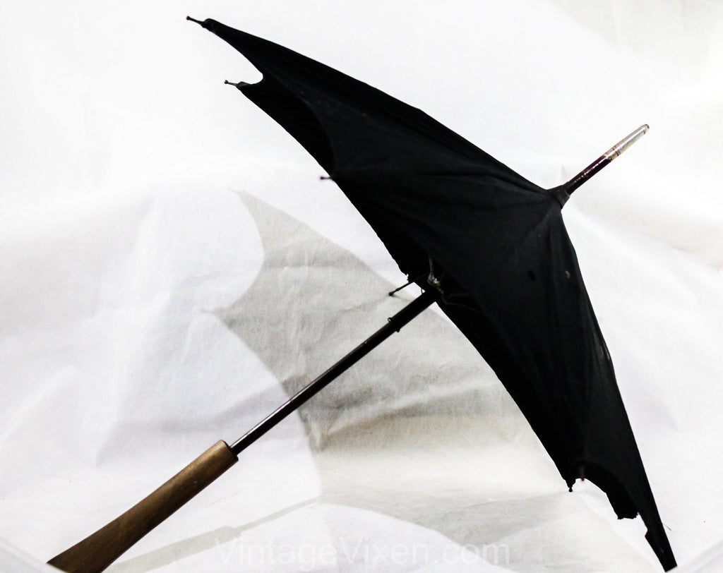 Antique Doll's Umbrella - Late 1800s Victorian Miniature Parasol - Black Cotton & Metal Frame - Smooth Wooden Handle - As Is Holes and Tear