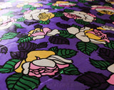 1960s Satin Fabric - 6 Yards x 43.5 Inches - 1960s Purple Pink Green Yardage - Mod Floral Big Flowers - Two Large Glossy Pieces 3 Yards Each