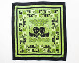 Exquisite Thai Silk Scarf - Luminous Green & Black Elephants Novelty Print - Large Square Wrap - 1950s 1960s Lime Pistachio Chartreuse