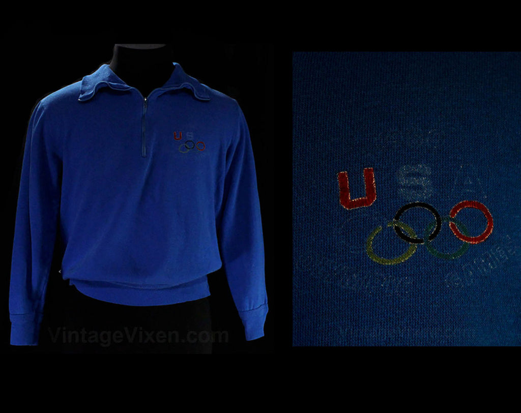 Men's XS 1980s Levi's Sweater - Long Sleeve 1980 USA Olympics Mens Blue Sweatshirt - Retro Levis Denim Label - Small Athletic Top - Chest 37