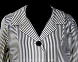 Size 10 1960s Jacket - Medium Black & White Seersucker Style Striped Casual Blazer - 50s 60s Mid Century NWT Deadstock - Bust 40.5