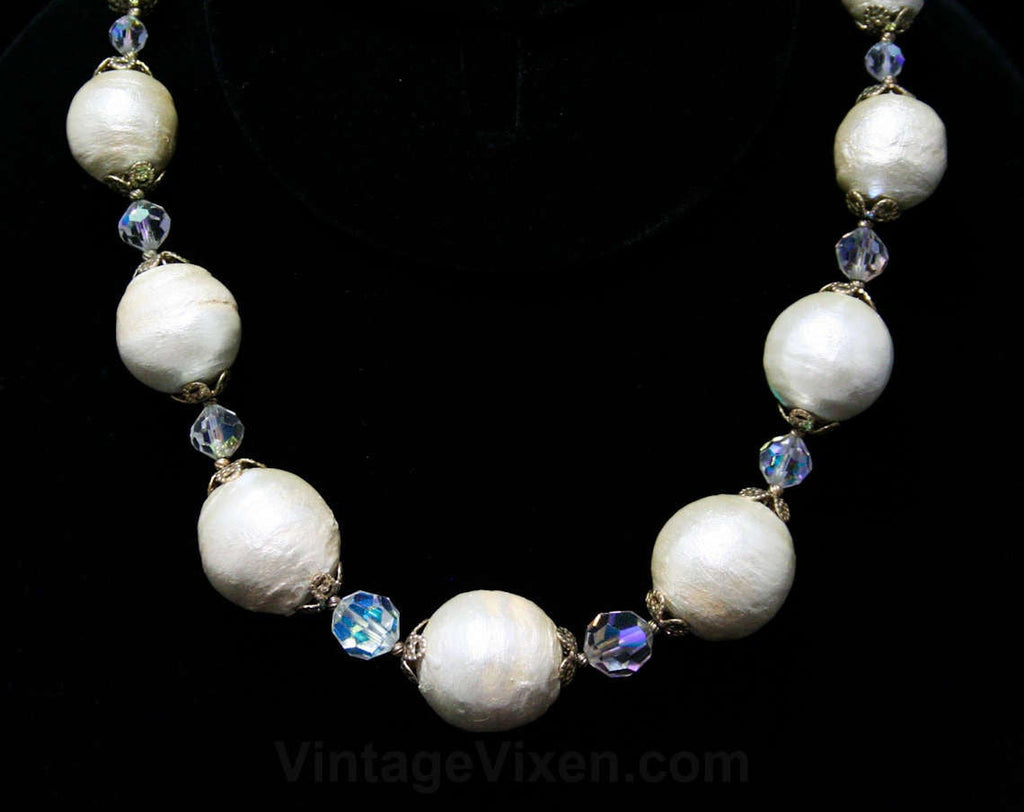 50s Baroque Pearl Necklace - Crystal Beads & Goldtone Filigree - 1950s Glamour - Beautiful Antique Inspired Chic - White Silver Gold Elegant