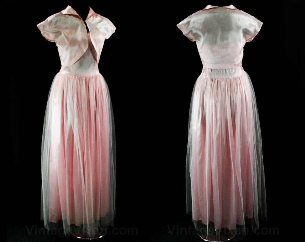 Size 10 1950s Prom Dress - Strapless Evening Gown - 50s Debutante - Boned Bodice - Baby Pink Tulle & Satin - Bolero Jacket - Bust 36 - 43120