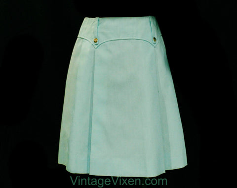 60s Girls Mini Skirt - Size 8 1960s Sky Blue Aqua Short Skirt - Mod Cute Casual Child's Scooter Style - Girl's British Invasion - Waist 23