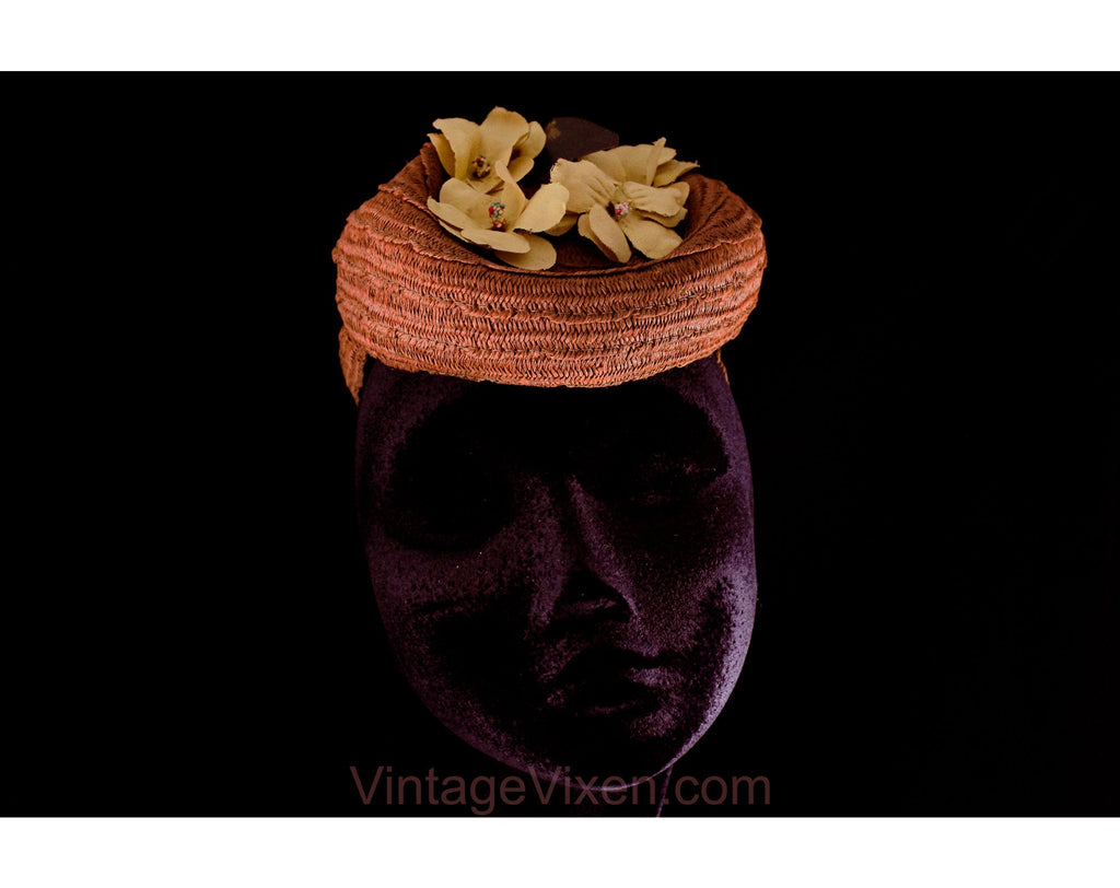 1940s WWII Era Bun Hat with Painted Yellow Flowers - Brown Straw with Strap - Spring Summer 40s Glamor Millinery - World War 2 Era Fashion