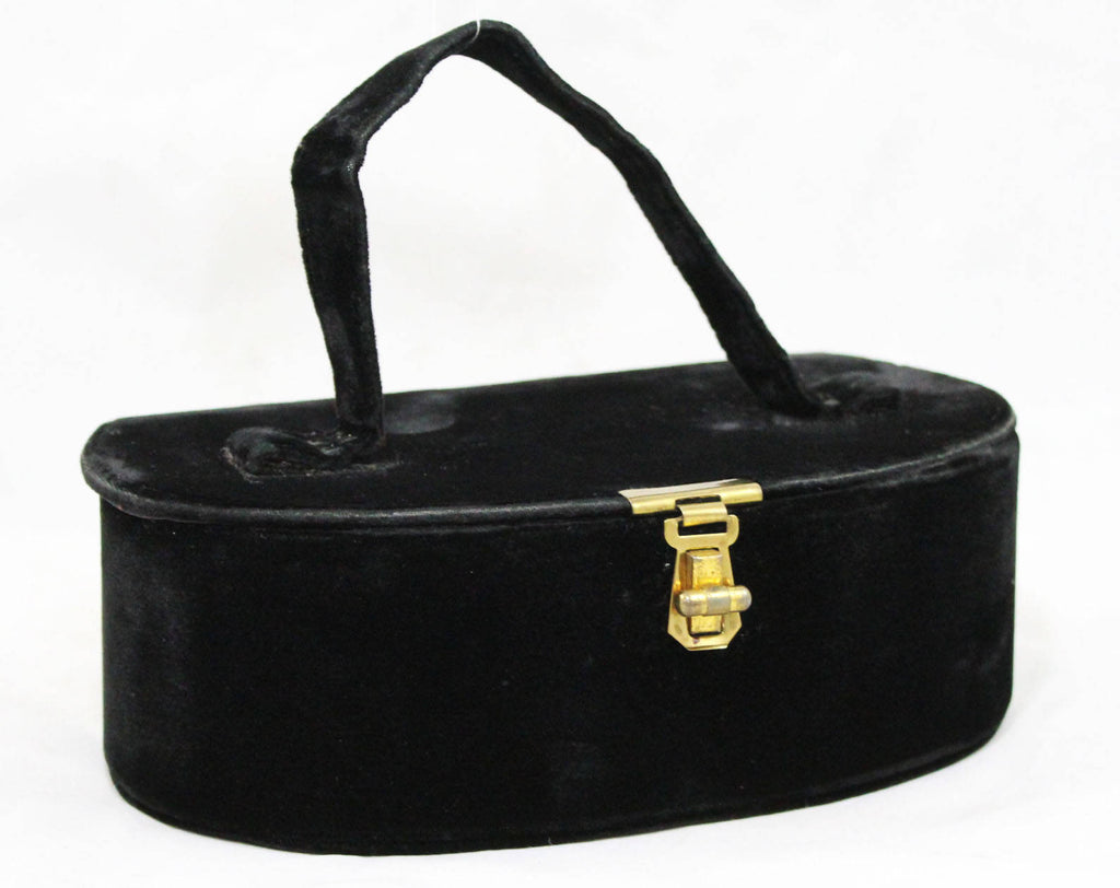 1930s Black Box Bag - Deco Velvet 30s Handbag - Brass Hardware - Mirror Inside - Oblong - Authentic 1930's Evening Purse - 47945