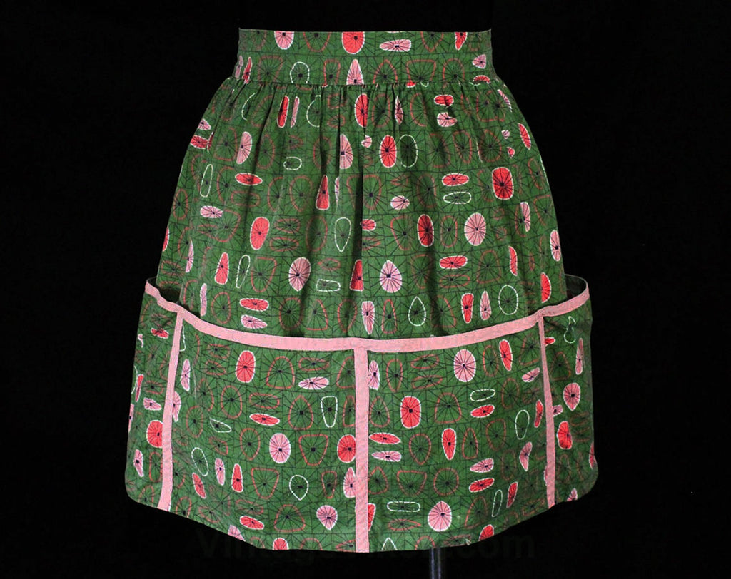 Large 1950s Apron - Mid Century Starburst Cotton 50s Novelty Print - Green & Pink Circles Ovals Geometric - 50's Work Wear with Big Pockets