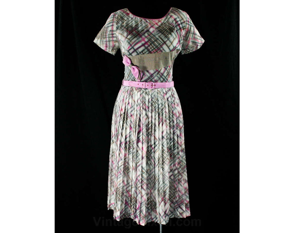 Size 10 1950s Sheer Dress - Gray & Orchid Purple Plaid Cotton Organdy Frock - Two Tone Ribbon - 50s Full Skirt - Original Belt - Waist 29