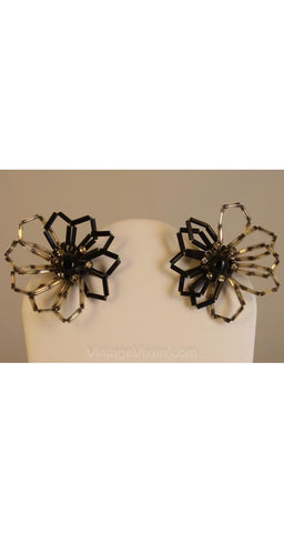 FINAL SALE Airy Black & Silver Beaded Flower Earrings - 1950s Floral Beadwork - Hand-Strung Wire - Rhinestone Accents - NOS Deadstock