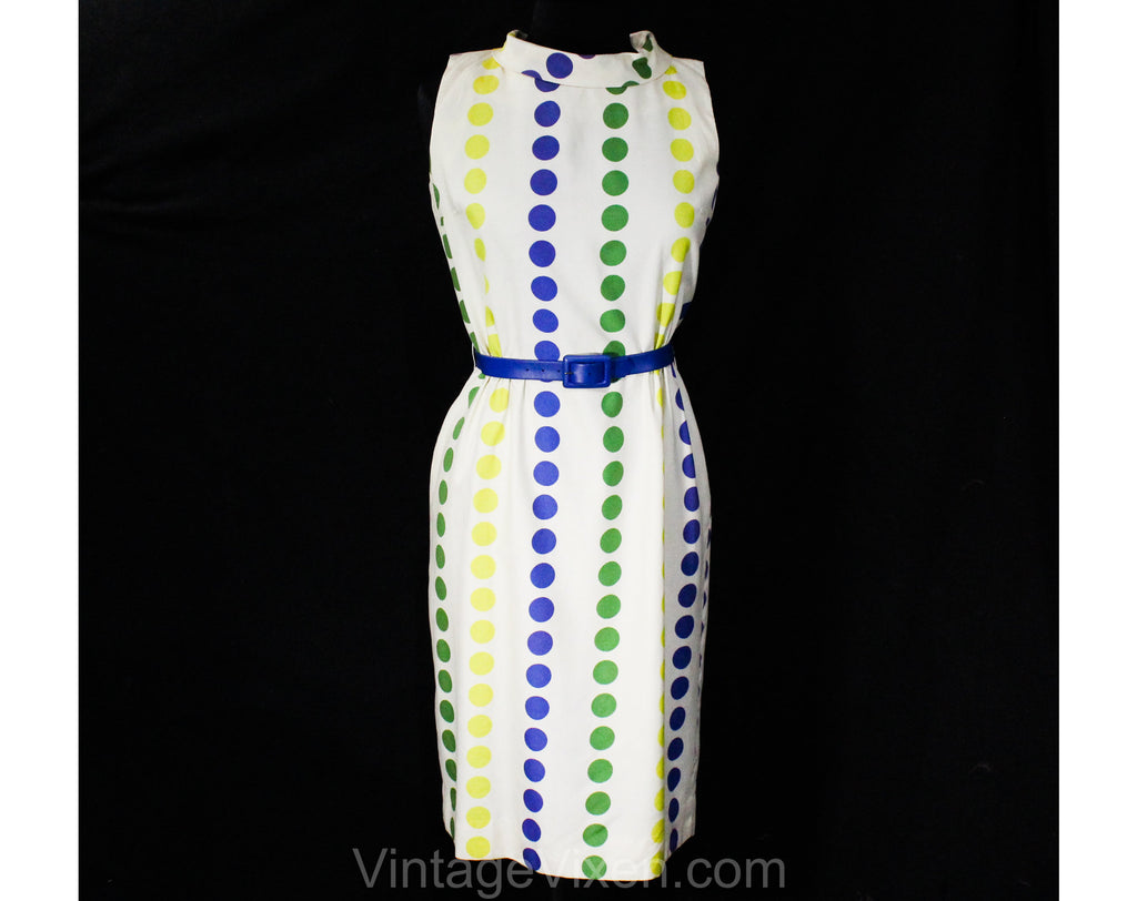 Size 10 60s Polka Dot Dress - Summer Sleeveless Mod Sheath with Original Belt - White Yellow Blue Green Indigo Purple 1960s NOS - Waist 27.5