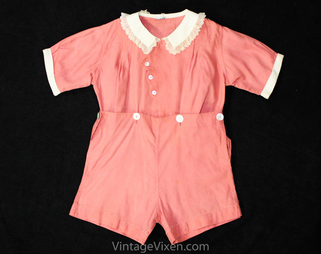 Girls 1930s Romper - Size 3T Authentic 30s Pink Cotton Play Outfit - Girl's Short Sleeve Summer Playset - Buttons Scallops & Lace - Waist 26