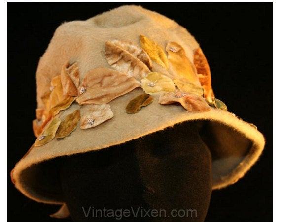 Posh 1960s Taupe Velour Hat with Velvety Pears Trim - Gwenn Penington Exclusive - Slouched Crown - Down Turned Brim - Close-Fit - 34300-1